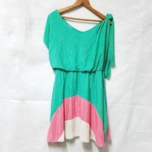 OB2-12 Pastel Silky Colorblock Green Pink Dress S